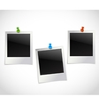 Photo frames with pushpins vector image