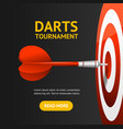 realistic detailed 3d dartboard with darts banner vector image vector image
