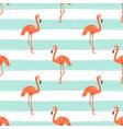 seamless flamingo bird on blue striped background vector image