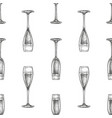 seamless pattern with glass champagne vector image