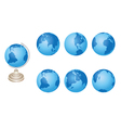 set - blue globes of Earth vector image