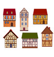 set half timbered houses on white background vector image vector image