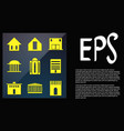 set icons house building in flat style vector image vector image
