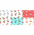 set of red cherry seamless pattern vector image