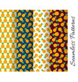 set of seamless pineapple patterns vector image