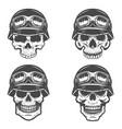 set racer skulls isolated on white background vector image vector image