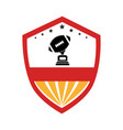 shield emblem with football ball and trophy cup vector image vector image