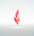 Shiny flame sign with reflection vector image