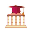 structure academy with hat graduation vector image vector image