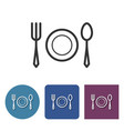 tableware line icon in different variants vector image