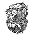 tiger naga thailand tattoo drawing design vector image