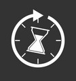 time icon flat with hourglass on black background vector image vector image