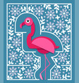 tropical bird in paper cut style pink flamingo vector image vector image