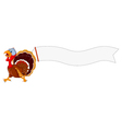 turkey cartoon running with blank sign vector image