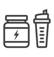 whey protein with sports shaker line icon vector image vector image