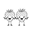 white background of monochrome pair of strawberry vector image
