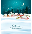 Winter village night Christmas background vector image vector image