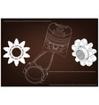 3d model of piston and gear vector image vector image