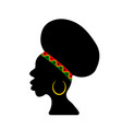afro american woman silhouette with traditional vector image vector image
