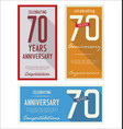 anniversasry retro background 70 years vector image vector image