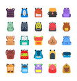 back to school kids school backpack flat icons se vector image vector image