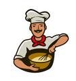 bakery logo cook whips dough vector image vector image