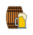 beer wooden barrel and glass cup vector image vector image
