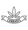 cannabis emblem logo outline style vector image