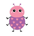cartoon beetle bug insect animal pink and violet vector image vector image