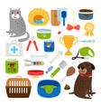 cat and dog items vector image vector image