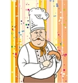 Chef and sausage on the fork vector image vector image