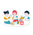 children playing blocks - colorful line design vector image