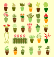 Collection colorful silhouette of garden flowers vector image vector image