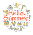 colorful icons in hello to summer theme vector image vector image