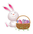 cute easter eggs cartoon vector image