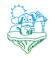 degraded line cute dog with house in the float vector image