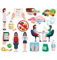 diet decorative icons set vector image