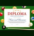 diploma for winner billiard tournament vector image vector image