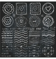 doodle framebrusheswreath decor setchalkboard vector image vector image