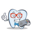 gamer tooth character cartoon style vector image vector image