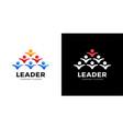 group people logo handshake teamwork icon leader vector image vector image