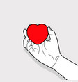 hand outline holding red heart symbol vector image vector image