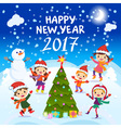 Happy New Year 2017 Winter fun Cheerful kids vector image vector image