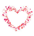 heart shape pink confetti splash with white heart vector image