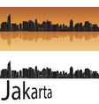 Jakarta skyline in orange background vector image vector image