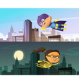 Kids Superhero Two Horizontal Banners vector image vector image
