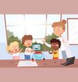 kids with teacher robot programming future vector image vector image