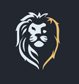 lion head emblem on dark background vector image