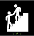 man helping climb other man it is white icon vector image vector image