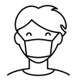 Man In Hygiene Face Mask Icon vector image vector image